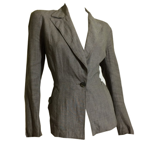 Soft Grey Wool Button Trimmed Nipped Waist Jacket circa 1940s