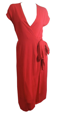 Candy Red Side Tie Wrap Dress circa 1970s Halston