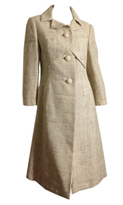 Flecked Creamy Wool Coat with Folding Bust Detail circa 1960s Hattie Carnegie