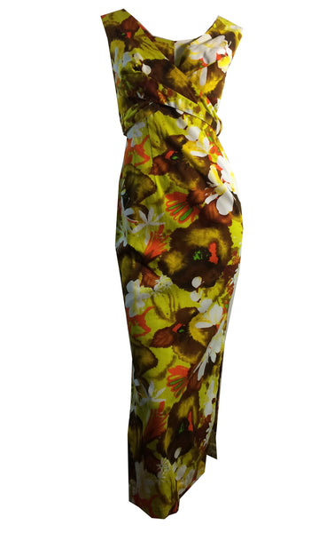 Sultry Vivid Hawaiian Floral Print Curve Hugging Dress circa 1960s
