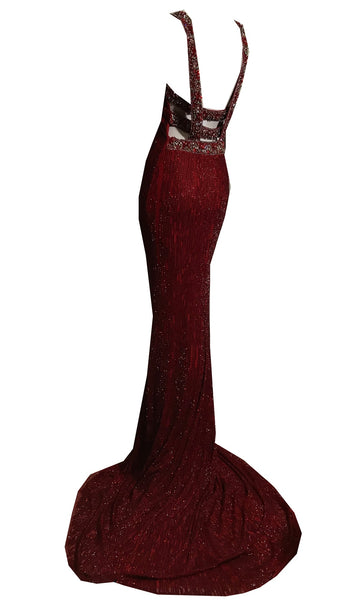 1930s Style Ruby Red Glass Beaded Silk Jersey Bejeweled Evening Gown Dress circa 2010s