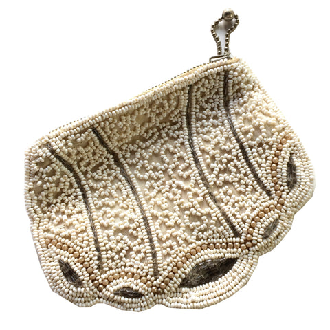 Ivory and White Beaded Evening Bag w/ Silver Accents circa 1930s