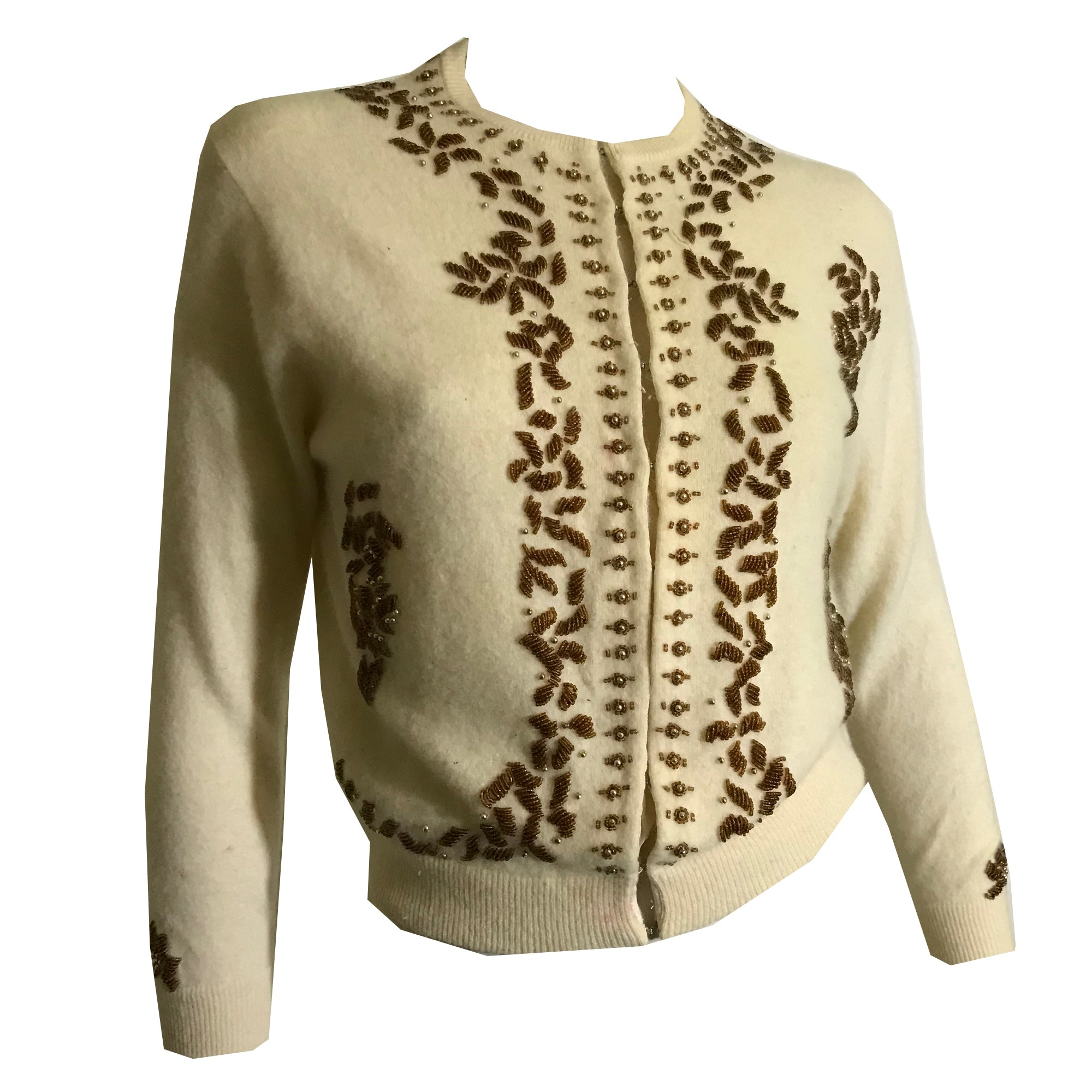 Candlelight Angora/Wool Blend Golden Beaded Sweater circa 1960s