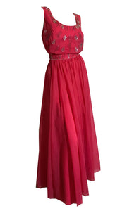 Shocking Pink Chiffon Sequined and Beaded Evening Gown Dress circa 1960s