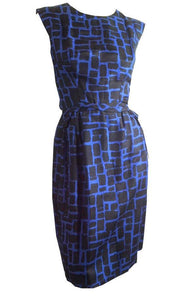 Black and Blue Abstract Print Sleeveless Sheath Dress w/ Bow circa 1960s