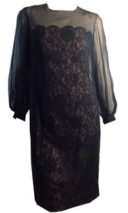 Illusion Lace Black Sheath Dress w/ Full Sleeves, Bows circa 1960s
