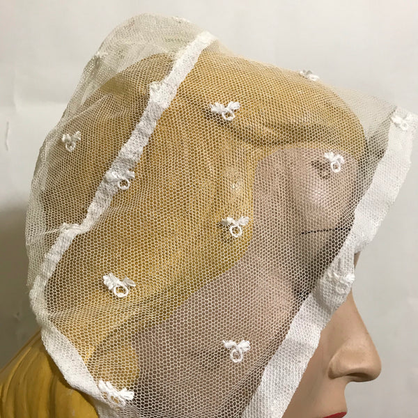 Ivory Embroidered Netting Cap Hat circa 1850