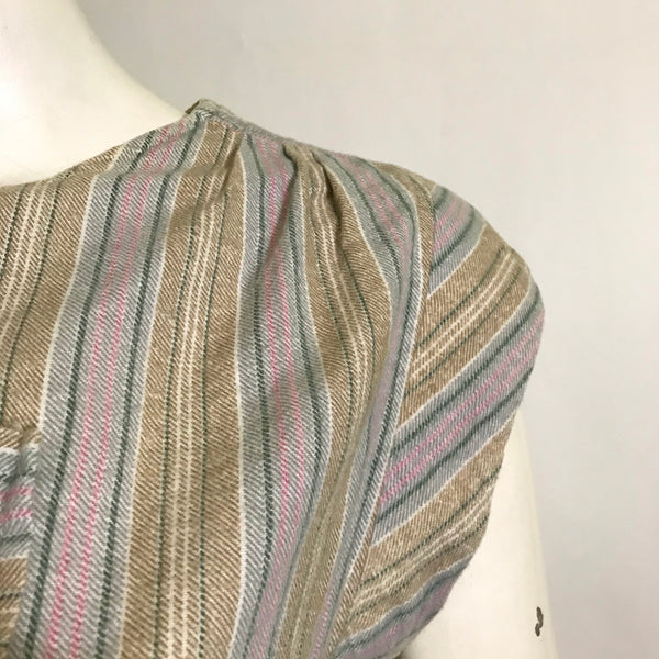 Chic Tan, White and Blue Vertically Striped Cinch Waist Top circa 1960s