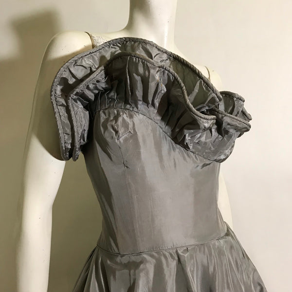 Shimmering Soft Silver Rare Ceil Chapman Cocktail Dress with Asymetrical Pleated Bodice Trim and Ruffled Skirt circa 1940s