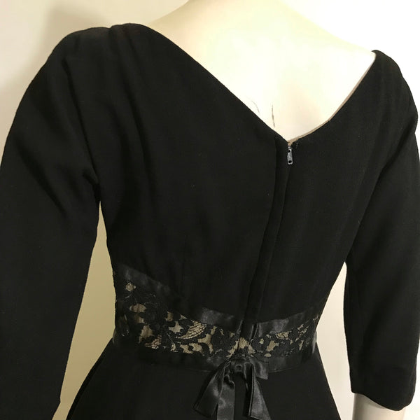 Illusion Lace Waist Black Wool Cocktail Dress circa 1960s