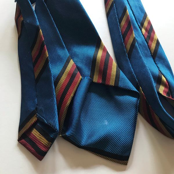 Blue, Red, Yellow and Black Iridescent Striped Wide Tie circa 1960s