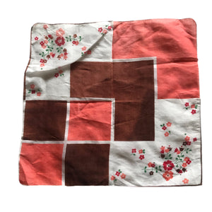 Orange and Brown Floral Print Handkerchief circa 1950s