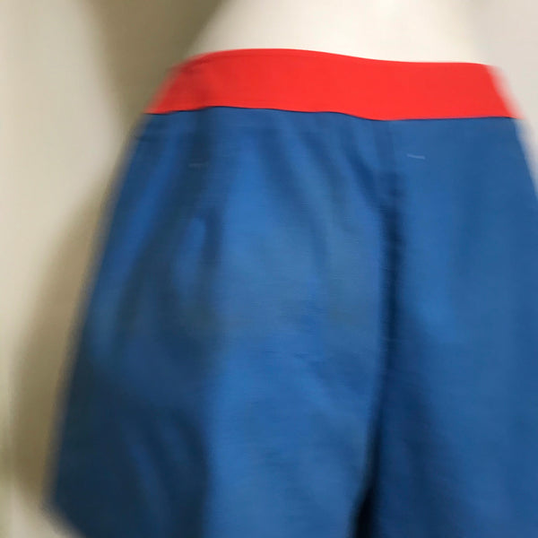 Red and Blue Twill Cotton Skort Shorts circa 1970s