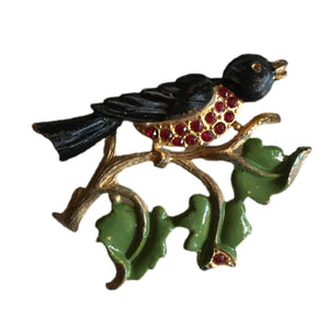 Singing Blue Bird on a Branch Brooch with Red Rhinestones circa 1930s