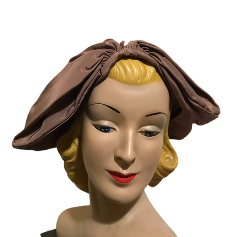 Gathered Front Buff Taffeta Sculpted Fabric Hat circa 1960s