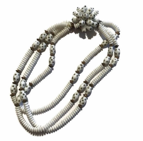Star Studded White Glass Bead Triple Strand Necklace with Cluster Clasp circa 1940s