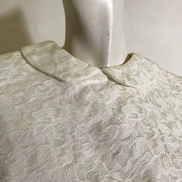 Two Piece Ivory Textured Rayon Dress Set circa 1960s