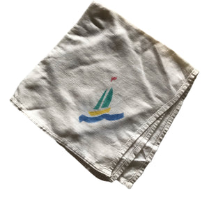 Hand Painted Sailboat Print Cotton Handkerchief circa 1930s