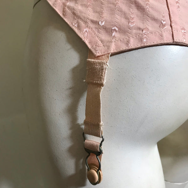 Peach Cotton Long Line Bra circa 1930s