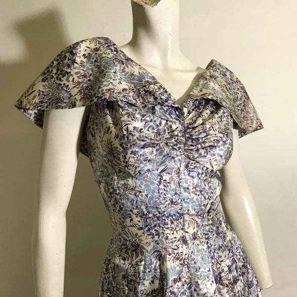 Shawl Collar Blue and Lilac Floral Print Princess Seamed Party Dress circa 1950s