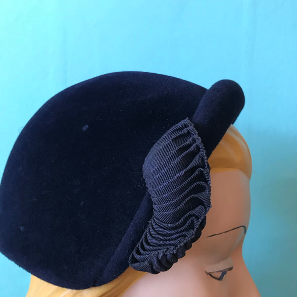 Midnight Blue Cocktail Hat with Side Braided Accent circa 1960s