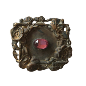 Art Nouveau Golden Metal Buckle Piece with Purple Czech Glass Accent circa 1910s