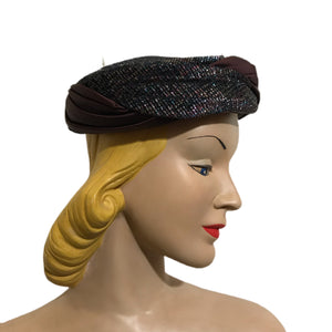 Silver Lurex and Black Satin Pill Box Hat circa 1960s