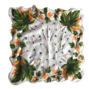 Acorns and Leaves Scalloped Edge Cotton Handkerchief circa 1950s