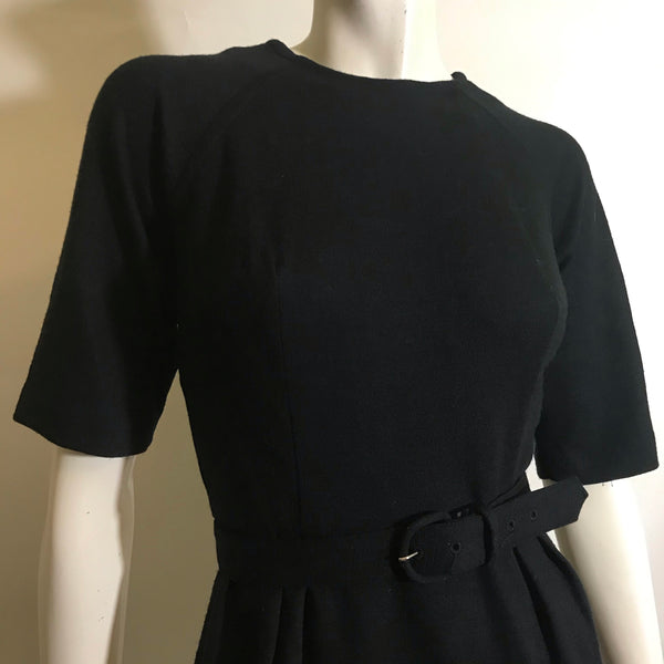 Black Short Sleeved Wool Classic Day to Night Dress circa 1960s