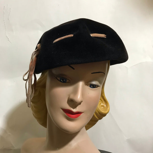 Black Stylized Pill Box Hat with Big Stitched Detail circa 1960s