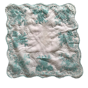 White Nylon Scalloped Edge Aqua Flocked Design circa 1950s