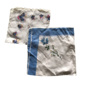 Pair of Floral Design Handkerchiefs in Blues circa 1940s