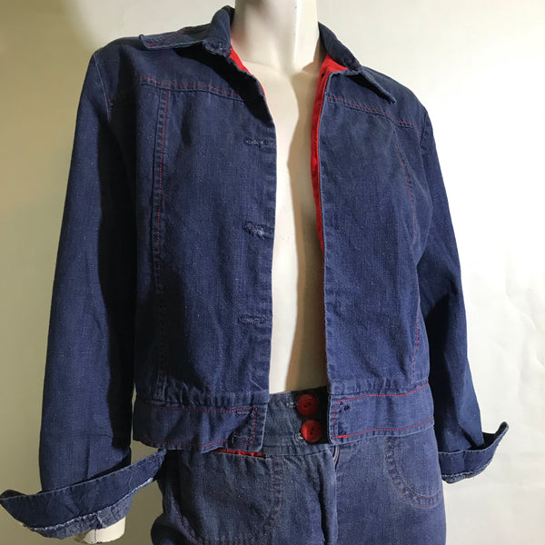 Red Trimmed Cropped Denim Jacket and Jeans Set circa 1970s