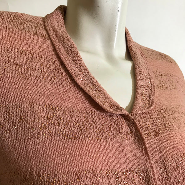 Golden Metallic Striped Pink Knit Cardigan Sweater with Nipped Waist circa 1940s