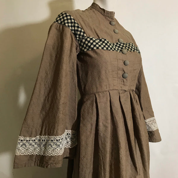 Woodsy Bark Brown Textured Wool Dress with Black and White Trim circa 1850