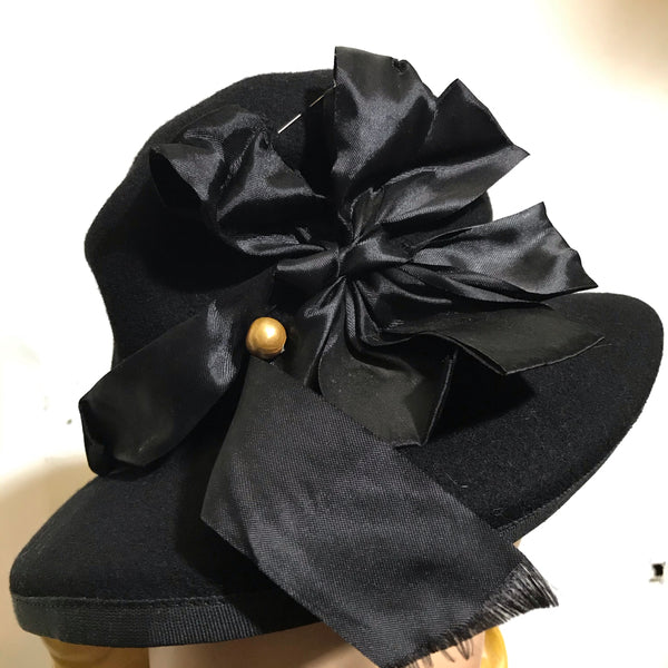 Rounded Top Tall Black Hat with Silk Bow and Faux Pearls circa 1940s
