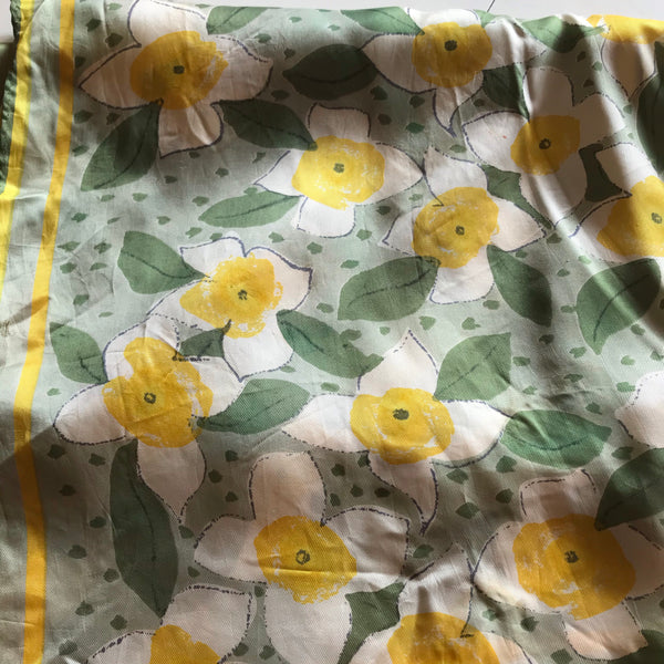 Vera Green and Yellow Daffodil Flower Print Oblong Scarf circa 1960s