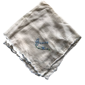 """Grace"" Name Embroidered Cotton Voile Handkerchief circa 1940s"