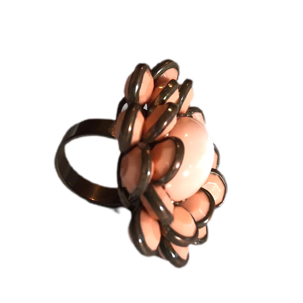 Peachy Pink Petals and Metal Statement Ring circa 1960s 6.5