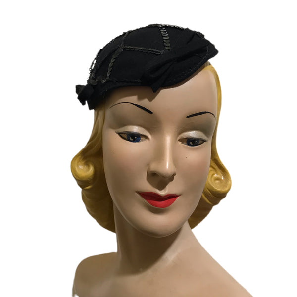 Sequin Trimmed Cocktail Cap Hat with Bows circa 1930s