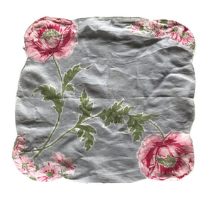 Grey Cotton Hanky with Bright Pink Poppy Print circa 1940s