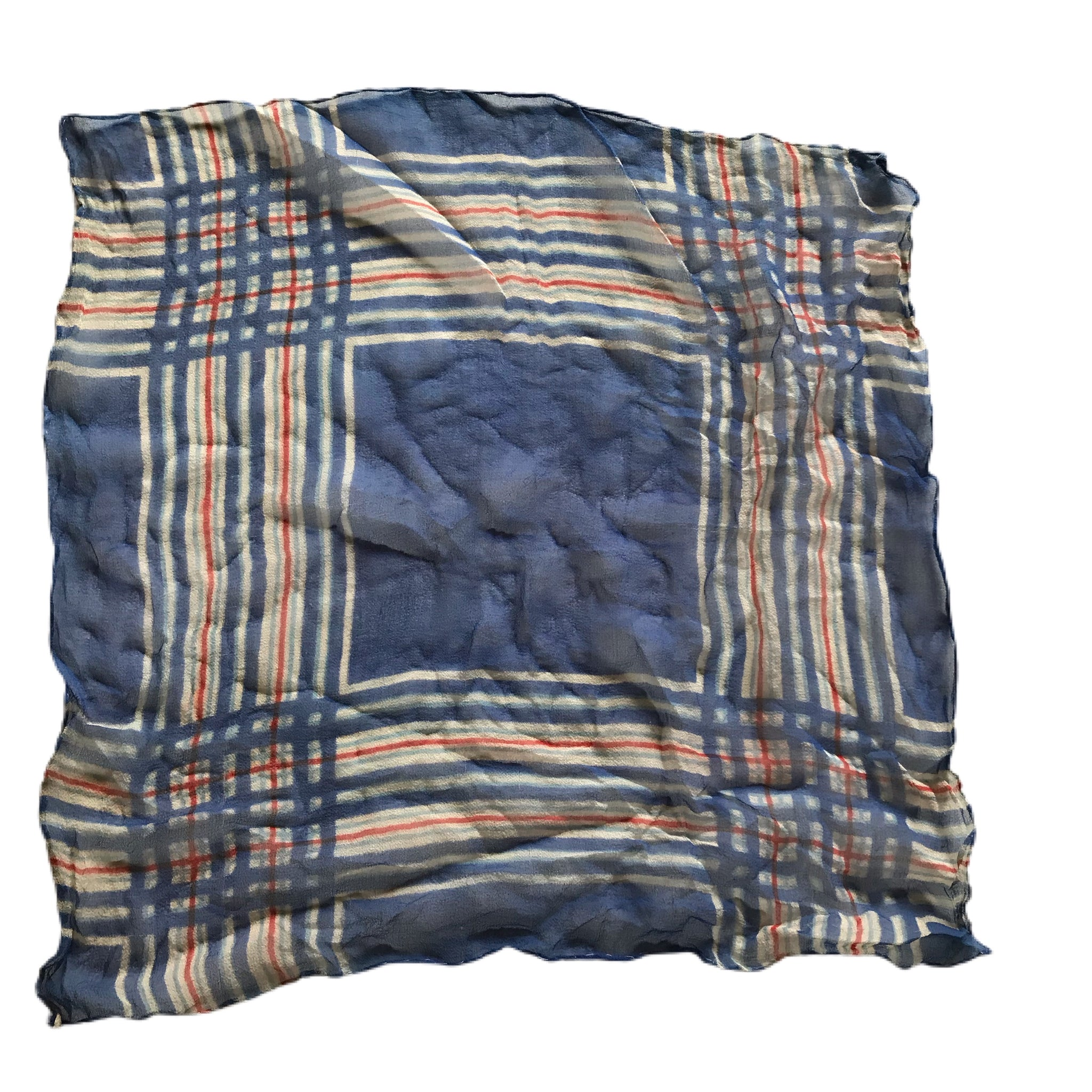 Red and Blue Dyed Plaid Silk Handkerchief circa 1940s