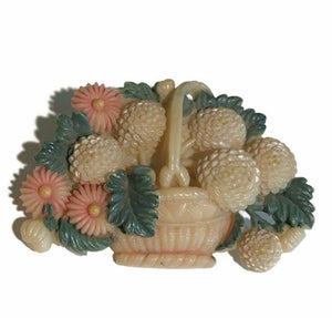 Carved Celluloid Warm Pastel Basket of Flowers Brooch circa 1920s
