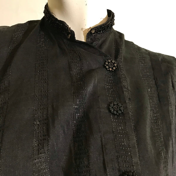 Greek Key Design Black Woven Silk Bodice Blouse with Beading circa 1890s