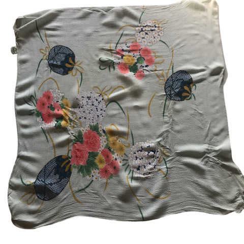 Softest Sky Blue Silk Japanese Flower and Lantern Print Square Scarf circa 1970s