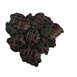 Black Alligator Texture Enameled Fall Flower Brooch circa 1960s