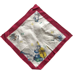 Children's Kitty and Duckling Print Cotton Handkerchief circa 1940s