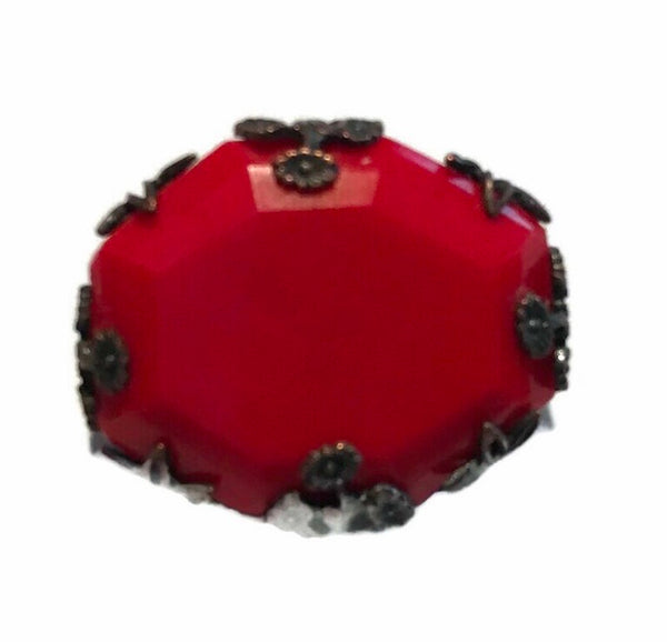 Beveled Red Glass Small Scatter Pin Brooch circa 1930s