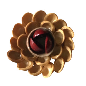 Lacquered Tan and Red Flower Brooch of Shells circa 1950s