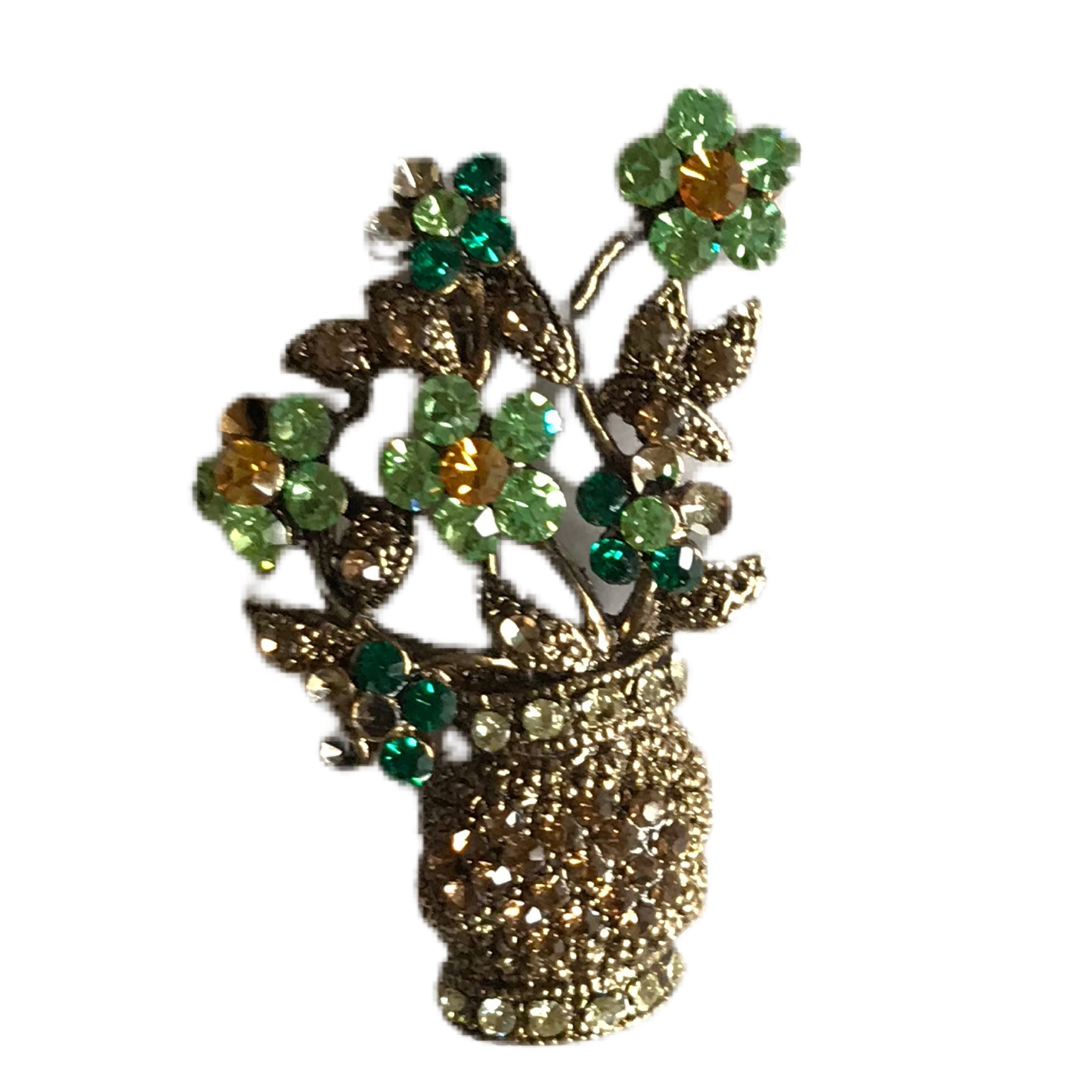 Bright Green Rhinestone Flowers in a Vase Brooch circa 1990s